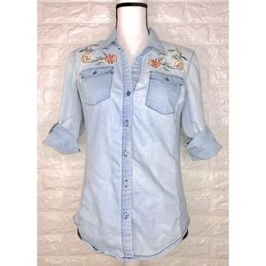 Cavalini Denim Collection Floral Embroidered Sz M